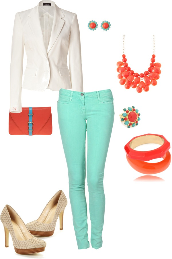 Coral and Aqua, created by chrissy-carter on Polyvore