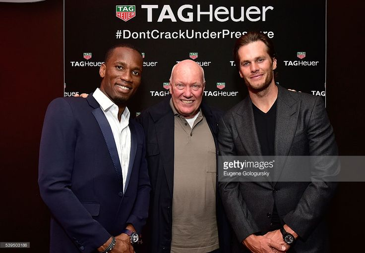 Soccer player Didier Drogba of the Montreal Impact, Tag Heuer CEO Jean-Claude Biver, and Quarterback Tom Brady of the New England Patriots attend the TAG Heuer Celebrates The Montreal Grand Prix with Daniel Ricciardo, Tom Brady and Didier Drogba event on June 11, 2016 in Montreal, Canada.