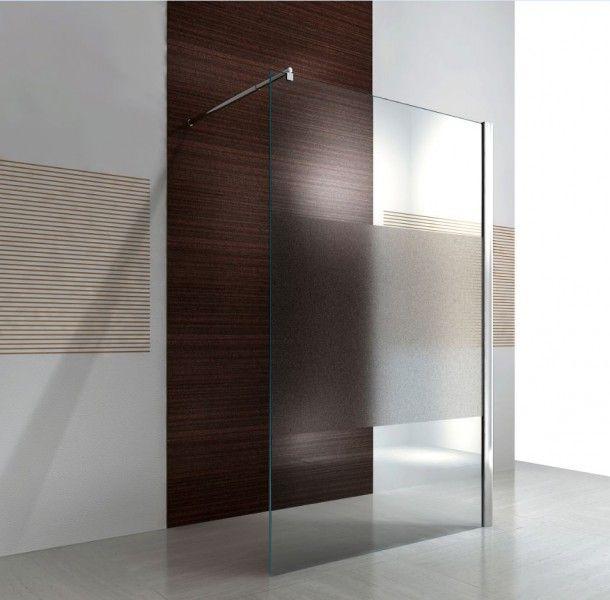 Duschabtrennung Walk-In Nano Echtglas EX101 - Milchglas-Streifen - Breite wählbar Badewelt Duschkabine Walk-In