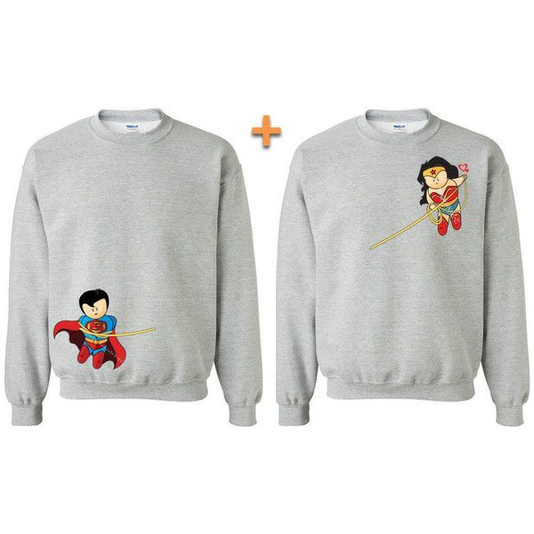 Super Hero and Super Woman Couple Matching Crewnecks Marvel Matching... (59 CAD) ❤ liked on Polyvore featuring tops, sweaters, silver, women's clothing, henley sweater, women sweaters, white crop top, white tops and silver sweater