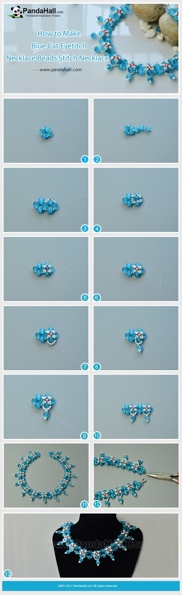How to Make Blue Cat Eye Beads Stitch Necklace The main materials of the necklace are imitation pearl acrylic beads, seed beads and cat eye beads. With some smart stitch skills, you can get a very gorgeous necklace!