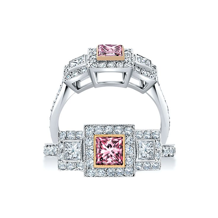 #Princess Cut Pink #Argyle Ring | #paulbram #diamonds