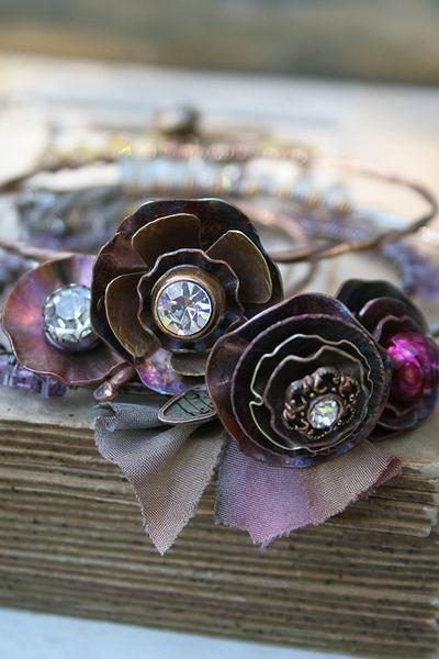 metal flowers with rhinestone centres...beautiful: Bracelets Ideas, Art Unravel, Jewelry Inspiration, Bloom Banglesderyn, Bloombangles1Jpg 400600, Metals Flowers, Banglesderyn Mentock, Bloombangles1 Jpg, Bangles Deryn Mentock