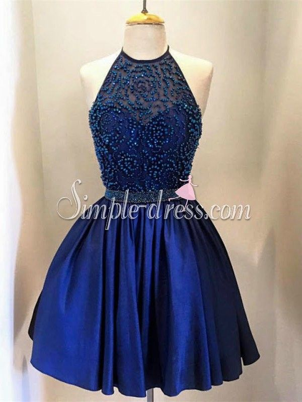 Modern O-neck A-line Beading Royal Blue Short Homecoming Dresses Prom Gowns SAPD-7110