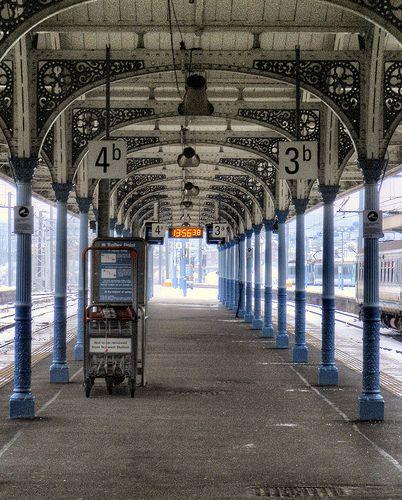 Train platform in Norwich, England.