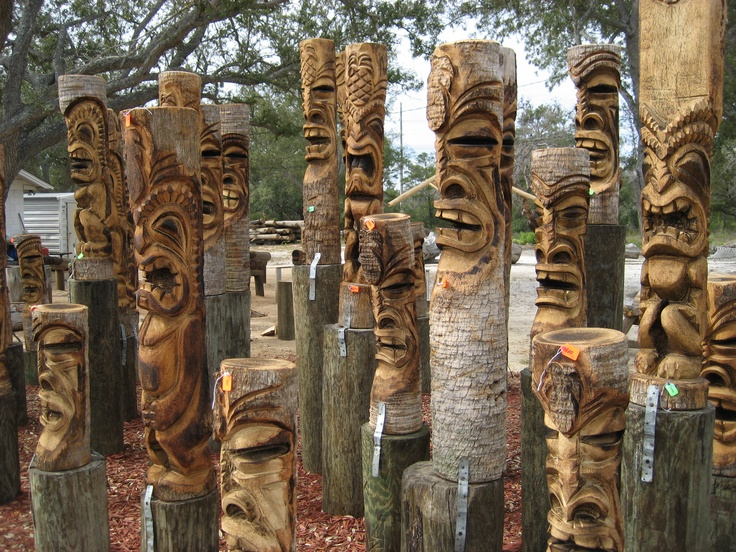 Scare away the demons. Tikis by Charlie Knight Wood Carver in Gulf Breeze Florida at Palm Tiki.