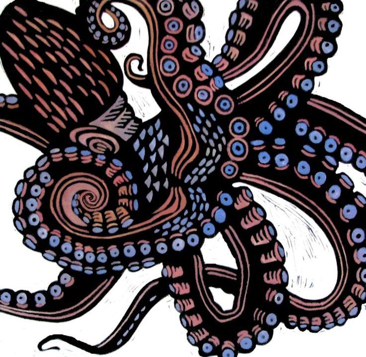 Print - Linocut by Laurel Macdonald. O is for Octopus (2016)