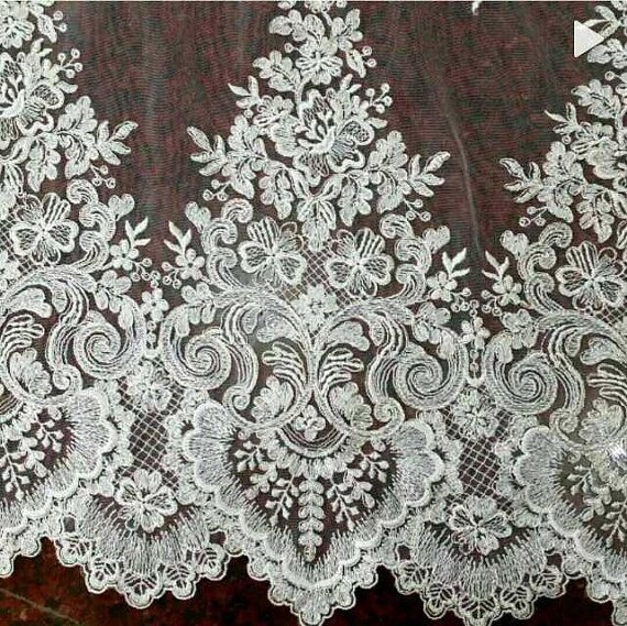Luxury Ivory Beaded Alencon Bridal Mesh Lace trim by Retrolace