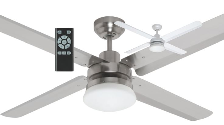 """Mercator+Sirocco+DC+Ceiling+Fan+52""""+w/+Light+&+Remote+Metal+White+or+Brushed+Chrome+FC402134, $259.00"""