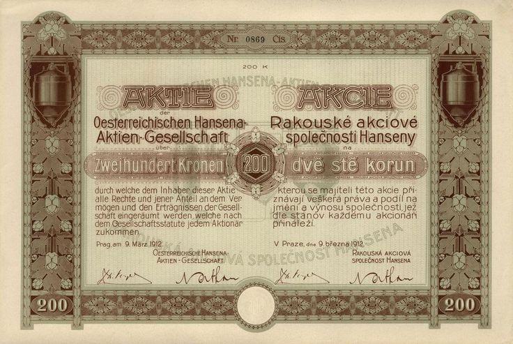 Rakouská akciová společnost Hansena (Oesterreichische Hansena AG.). Akcie na 200 Korun. Praha, 1912.
