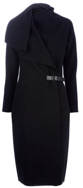 Lanvin Anthracite Wrap Coat in Black (anthracite)- WANT