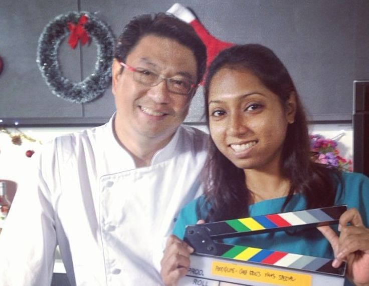 Our producer with celebrity chef Eric Teo shooting Christmas recipes!
