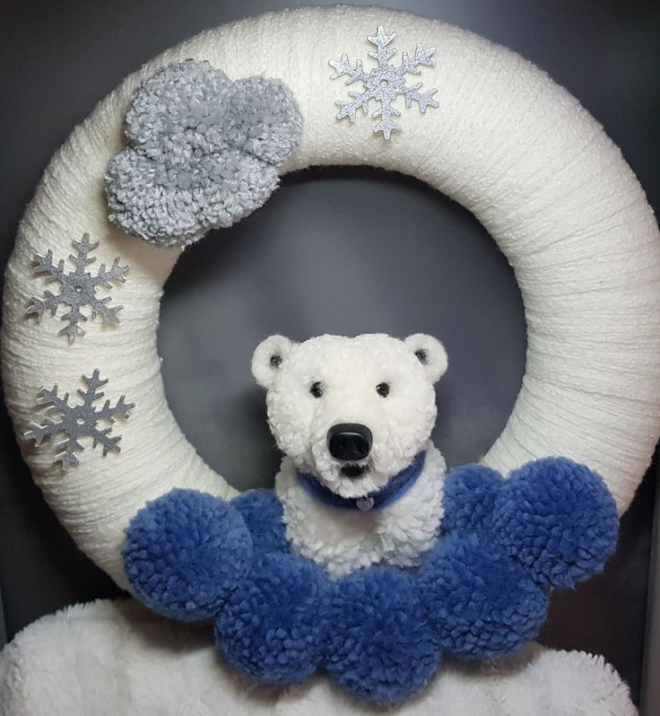 Pom pom wreath, Polarbear,  Pompomanimal