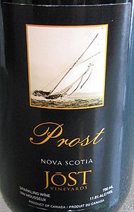 """Jost Vineyards NV Prost  (Nova Scotia) Pairs very well with Applewood Smoked Cheddar Cheese and is one of my favorites. The wine, which goes by the name of """"Prost"""" (German for Cheers!), has a pale straw yellow color with green hues and a moderately persistent fine mousse. The nose is highlighted by apple fruitiness and a lightly floral bouquet, reminiscent of Muscat. The wine possesses the great acidity which all good sparklers come with, balanced by just a touch of residual sugar. A…"""