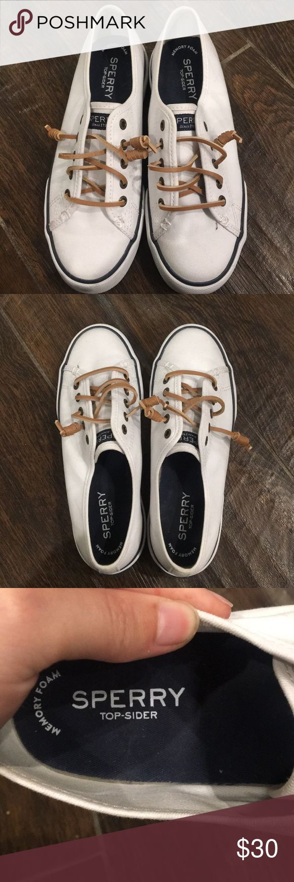 Sperry Sneakers White Sperry sneakers with leather laces only worn once in great condition Sperry Top-Sider Shoes