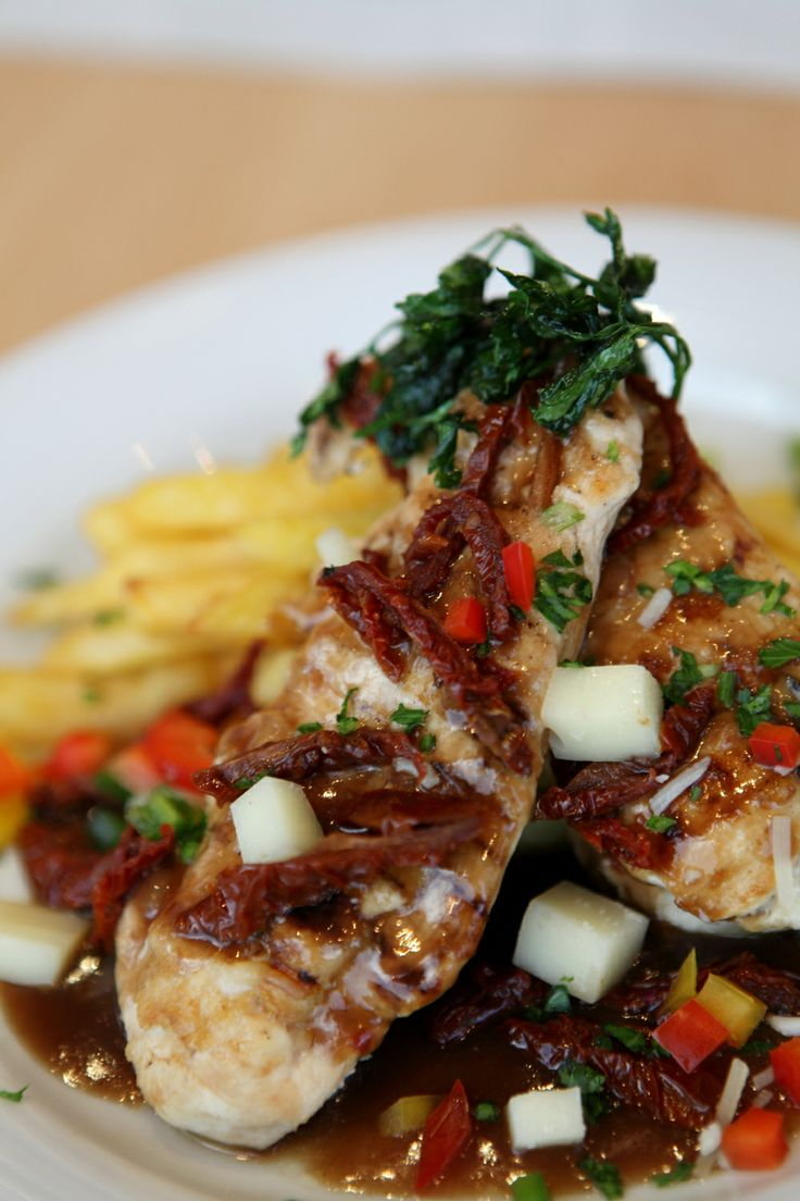 Chicken Fillet with Sundried Tomatoes, Cretan Gruyere and Ragou Vegetables