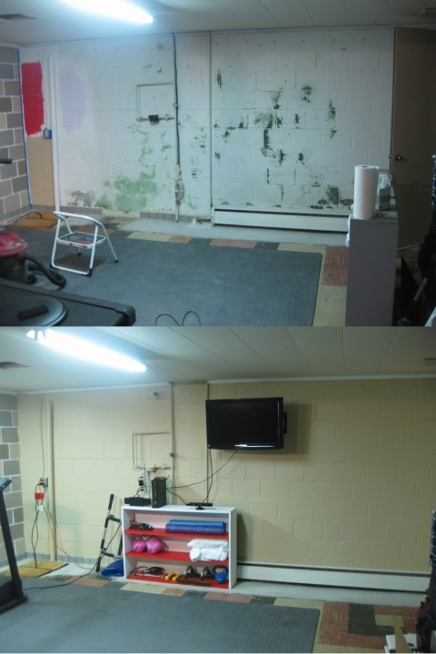 Basement workout room - East wall transformation.
