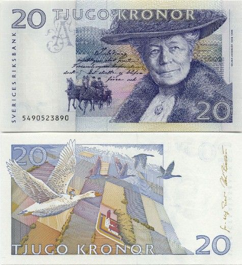 Sweden 20 Kronor 1995 (S. Lagerlöf, geese, horses)