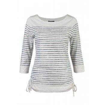 PRETTY CHIC Striped Ruched Side Boat Neck mean for a cozy yet put together look. #mywarehouseone