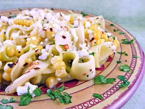 Zucchini Ribbon Salad w/ Feta & Corn: Raw, Potatoes Salads Sides, Maine Courses Lighting, Awesome Summer, Zucchini Ribbons Salad, Marine Zucchini, Cinnamon Spices, Food Recipe, Feta Corn
