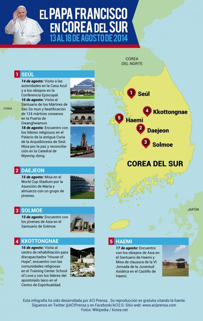 [INFOGRAFÍA] Estos son los lugares que visitará el Papa Francisco en Corea del Sur