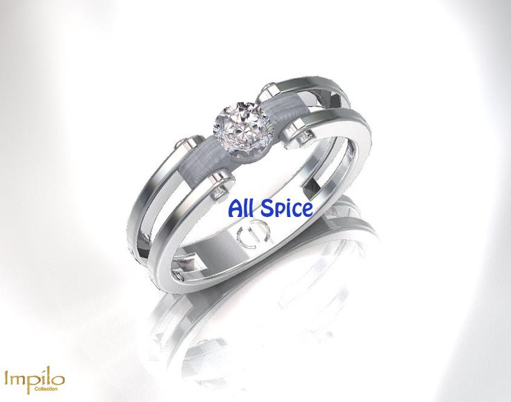 """""""All Spice"""" - Stunning unique engagement ring with one round brilliant cut diamond on a matte finish shank set in a double shank."""
