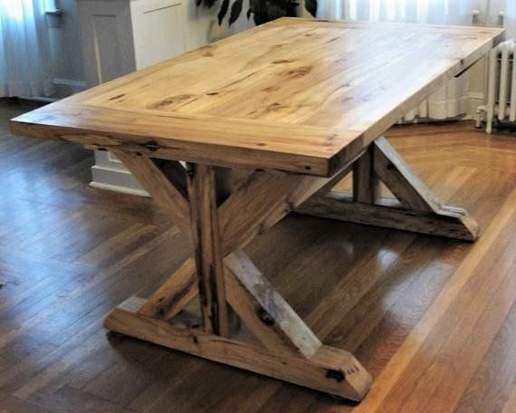 Dining Table, Rustic Solid Hickory Farmhouse Trestle Table ...