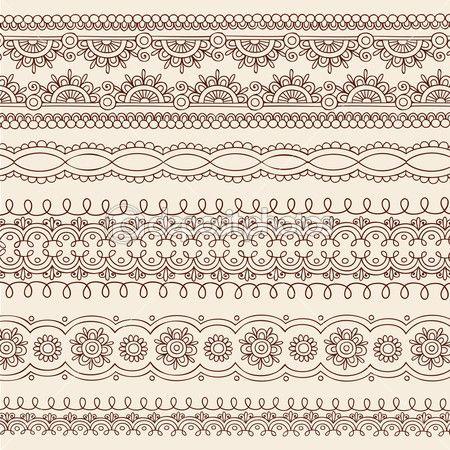 Henna mehndi arête frontière design vecteur — Illustration #8247889