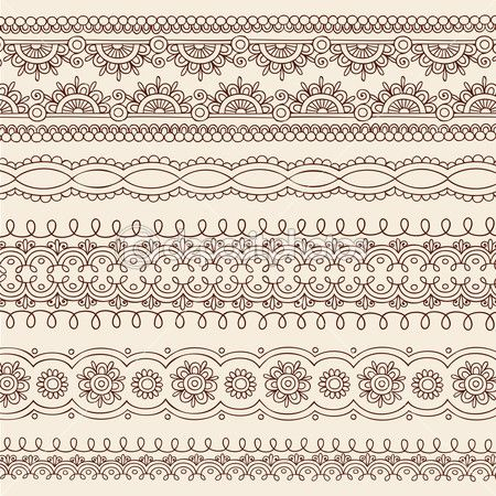 Henna Edge Border Design Hand-Drawn Henna Mandala Paisley Flowers Mehndi Floral Tattoo Doodle Vector Illustration Design Elements