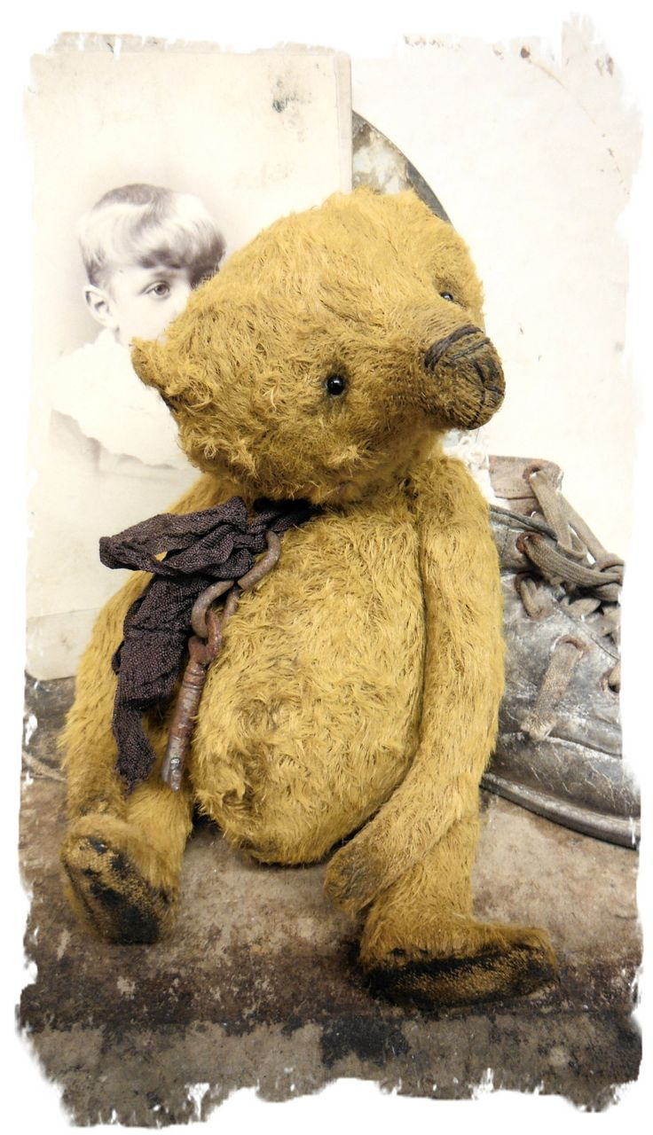 """handmade by Wendy Meagher of Whendi's Bears - An Original ONE OF A KIND approx 7"""" Tall - Antique Style Aged Old Gold Chubby Bear with vintage ribbon"""