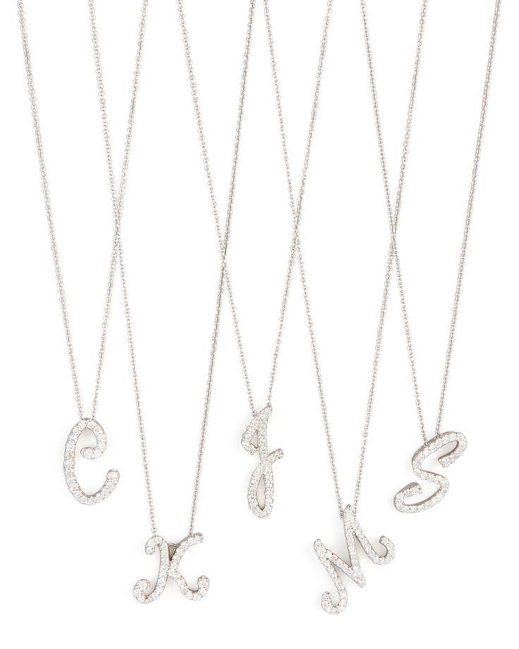Diamond Initial Necklace, Size: V, white - Roberto Coin