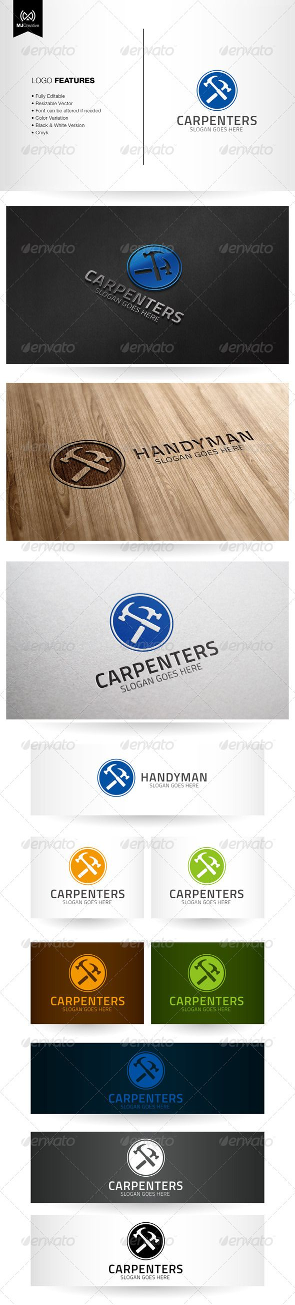 Handyman and Carpentry Logo  #GraphicRiver         Logo template suitable for Carpentry, Constructions, Handyman, etc…   The logo is vector format so you can re-sized without losing the quality.   Included in the download    Ai File (cs3 or later)  EPS10  Info Text  Free fonts used in the design  For any modification and editing assistance, please contact me and I'll be happy to help.      Created: 16September13 GraphicsFilesIncluded: JPGImage #VectorEPS #AIIllustrator Layered