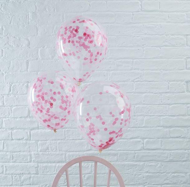 Hochzeitsdeko - 5 Konfetti-Luftballons Pink, ca. 30 cm - ein Designerstück von Lolima-Shop bei DaWanda