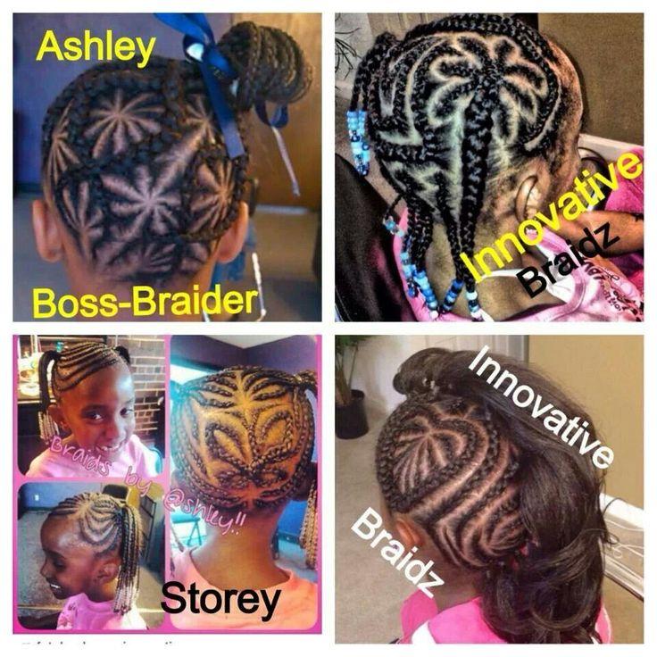 Various innovative cornrow designs on natural hair