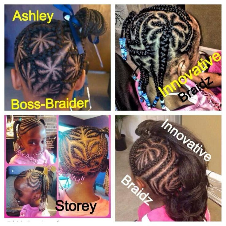 Various innovative cornrow designs on natural hair