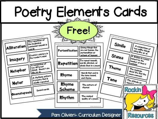 Free Poetry Elements cards- great for a Poetry Scavenger Hunt!   Designed by Rockin Resources