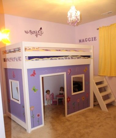 camp loftbed playhouse conversion | Do It Yourself Home Projects from Ana White