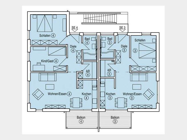 Grundriss OG Mehrfamilienhaus Münch. Großes Mehrgenerationenhaus mit 2- & 3-Raum-Wohnungen