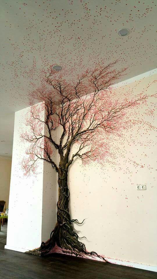 Baum an die wand gemalt.