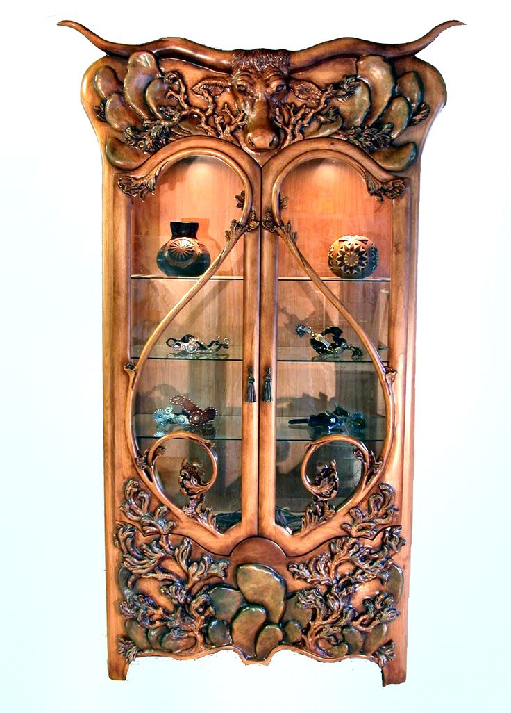 Custom display case, all hand carved and ready for the perfect western home or store.