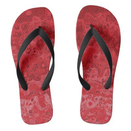 #Abstract Liqud Wavy Gradient Red Flip Flops - #womens #shoes #womensshoes #custom #cool