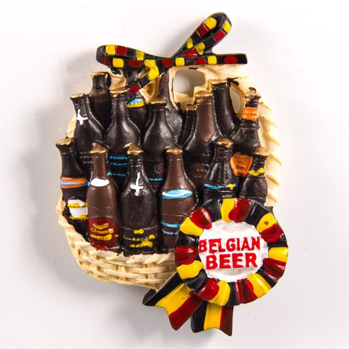Resin Fridge Magnet: Belgium. Belgium Beer