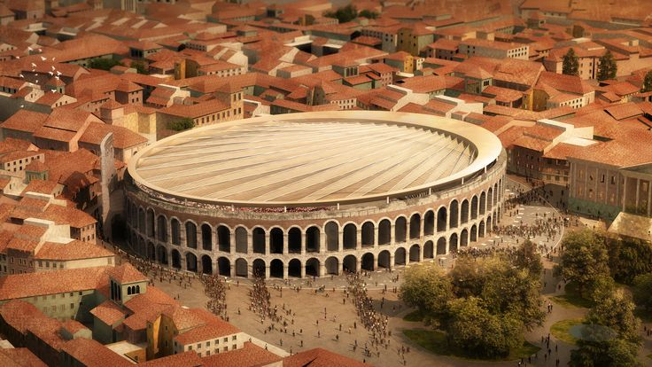 """Retractable """"scallop shell"""" roof could be built over Verona's Roman arena"""