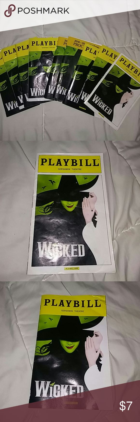 9 Wicked Playbiils 9 great condition Wicked The Musical Playbills! 7 Playbill are from the Broadway Production and 2 are from the National touring production at Proctors Theatre. Reasonable offers accepted! Can be bundled with other wicked items!💚💚 Wicked the Musical Other