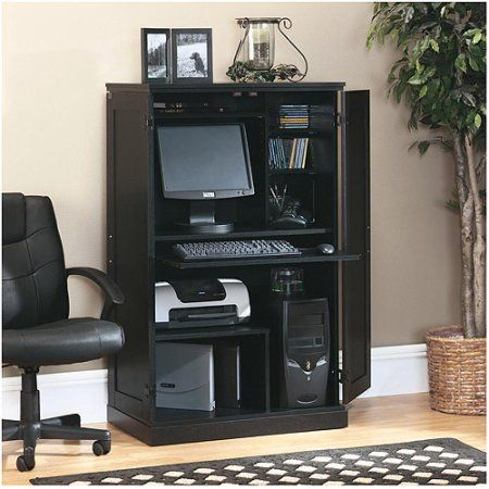 sauder computer armoire multiple finishes 145 frame and panel doors pullout keyboard