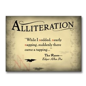 """Literary Tools: Alliteration English Literature Poster featuring a quote from """"The Raven"""" by Edgar Allan Poe. Laminated Educational Art Print"""
