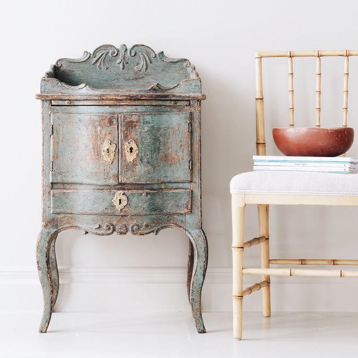 Exceptional 18th century Swedish rococo nightstand.