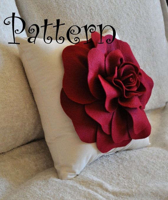 DIY Large Felt Rose with BONUS Pillow PDF Pattern Tutorial Flower Pillow Accent Pillow epattern how to flower pattern