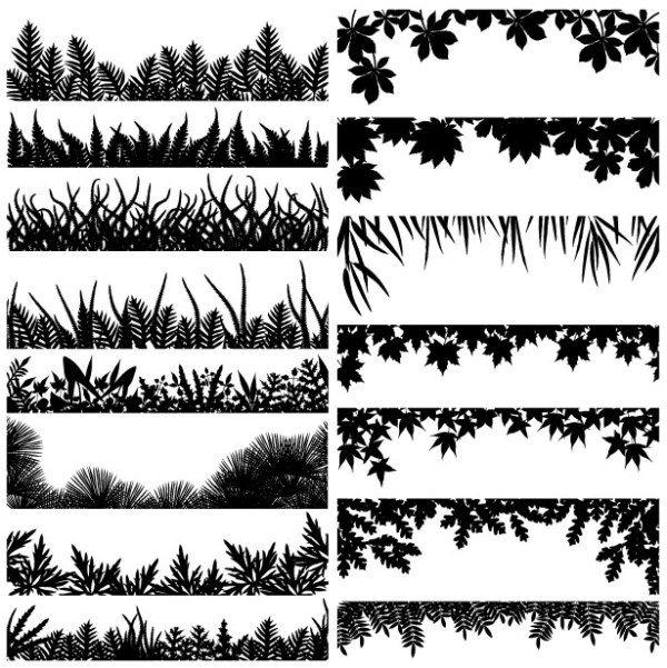 << border frame leaves foliate organic laser silhouette