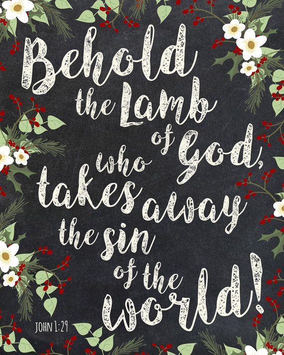 Etsy printable word art by Sarabell Studio, Inspired by John 1:29, Behold the Lamb of God who takes away the sin of the world, John 1, Christmas wall art, christmas gift, scripture art, printable art, verse art, christian art, bible word art